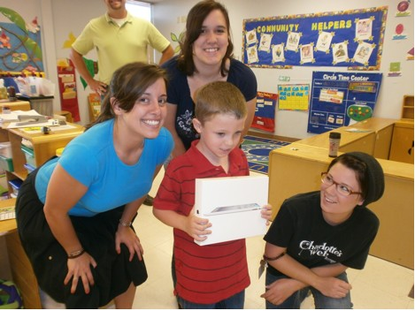 L to R: Miss Heather, Miss Jessica, and Miss Heather all celebrate with Ethan!
